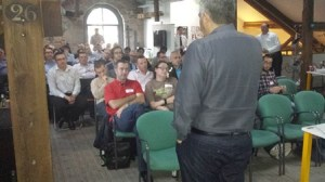 AWS Chief Evangelist Jeff Barr takes questions from the packed TechHub Manchester