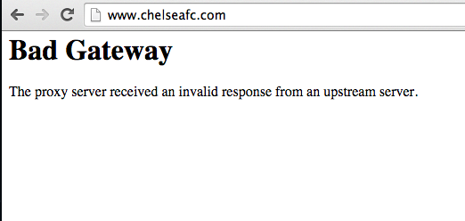 Chelsea FC website crash